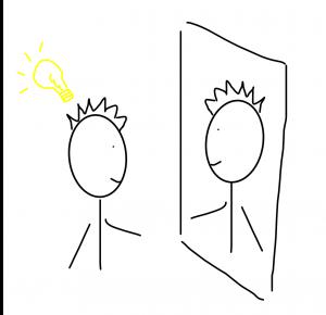 poppetje heeft inzicht voor spiegel